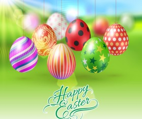 Easter hanging egg with blurs background vector 11