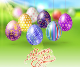 Easter hanging egg with blurs background vector 12