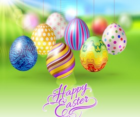 Easter hanging egg with blurs background vector 13