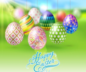 Easter hanging egg with blurs background vector 14