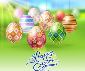 Easter hanging egg with blurs background vector 15