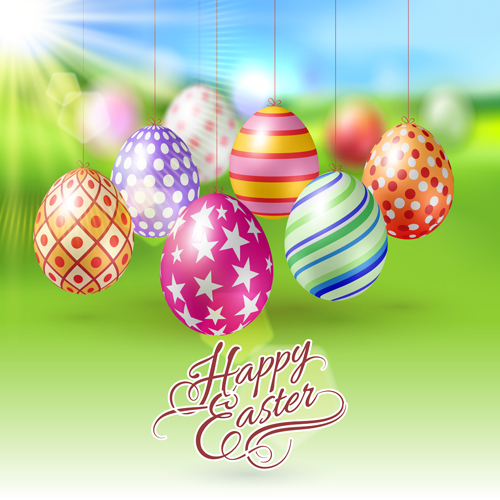 Easter hanging egg with blurs background vector 16