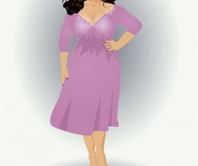 Fashion fat girl vector graphics 04