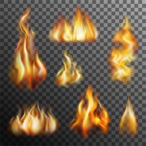 Flame illustration set vector 01