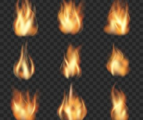 Flame illustration set vector 03