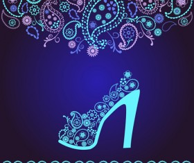 Floral shoes with paisley pattern vector 01