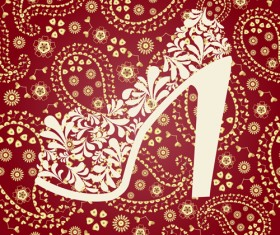 Floral shoes with paisley pattern vector 02