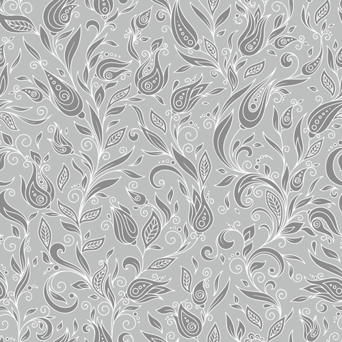 Flowers doodles seamless pattern vector 05