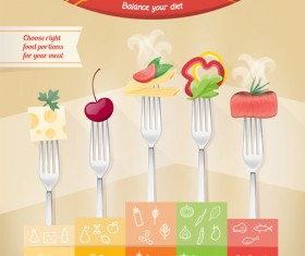 Fork with food infographic vector