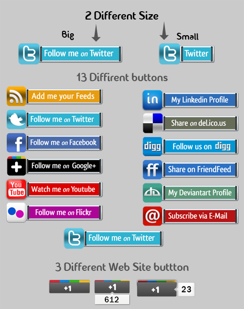 Free Social Network PSD Buttons