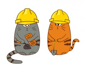 Funny doodle cats vector material 02