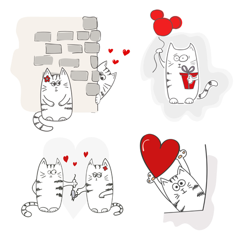 Funny doodle cats vector material 07