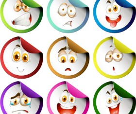 Funny face expression icons sticker