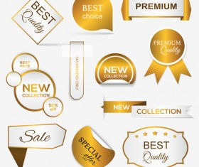 Golden banners with labels and sticker badge vector 03