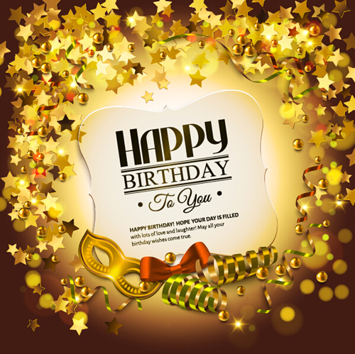 Golden Decor With Birthday Cards Vector Free Download