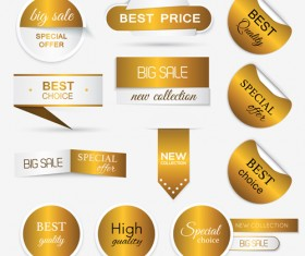 Golden sticker with badge and banners vector