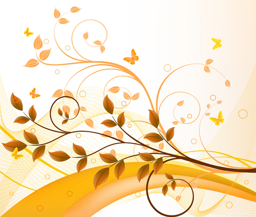 golden tree branches abstract background vector 01