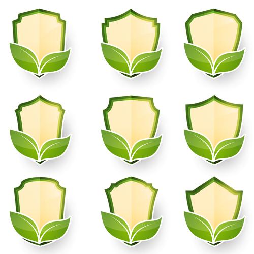 Green leaf labels vector set