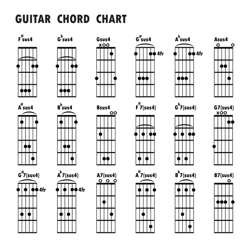 Guitar Chords Chart Design Vector 01 - Vector Music Free Download