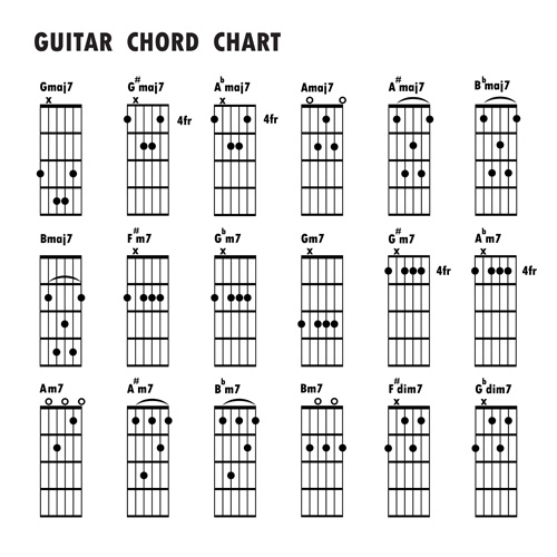 Guitar chords chart design vector 03 free download