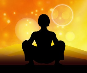 Halation sunset background and yoga silhouetter vector 02