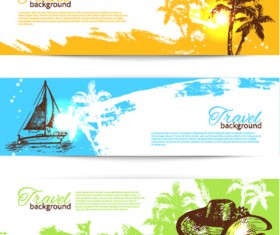 Hand drawn beach banner vector