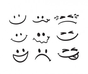 Hand drawn face emoticons icons vectors