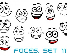 Hand drawn funny face emoticons icons vector