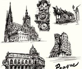 Hand drawn prague building vector