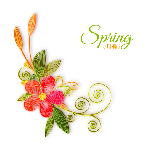 Spring Flower With Green Background Vector 02 Free Download: Handmade Flower With Spring Background Vector 02 Free Download