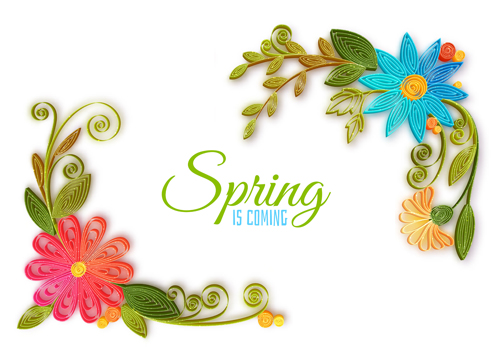 Handmade flower with spring background vector 04