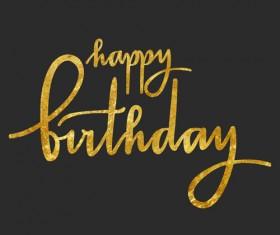 Happy birthday gold text design vector