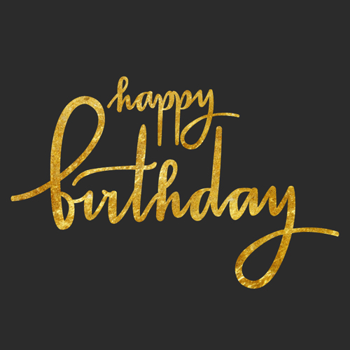 Happy birthday gold text design vector free download