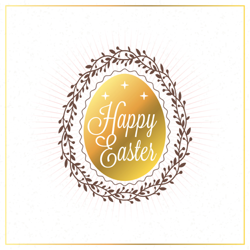 Happy easter background with egg and floral frame vector