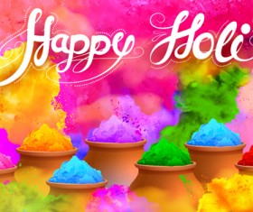 Happy holi colorful art background vector