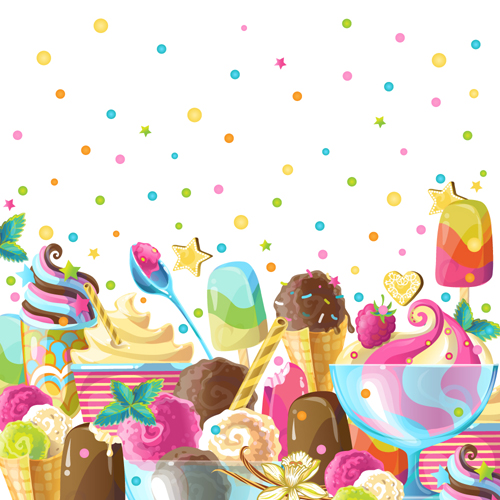 Ice cream elements background vector 01
