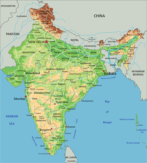India physical map vector graphics - Vector Maps free download