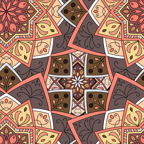 Indian ornament pattern seamless vectors graphics 05