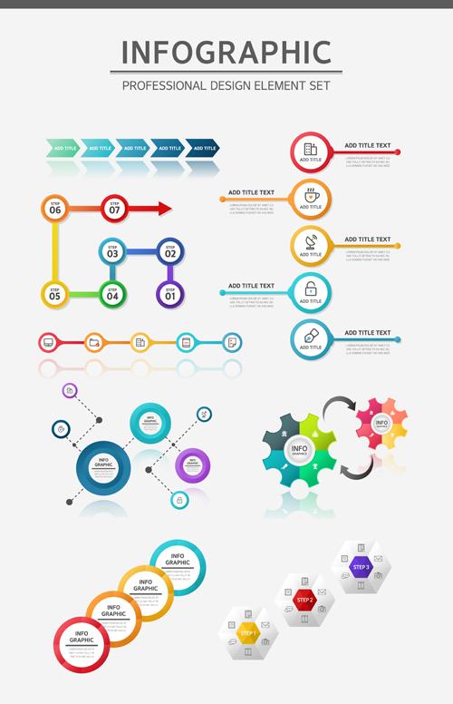 Infographic professional illustration vectors set 04
