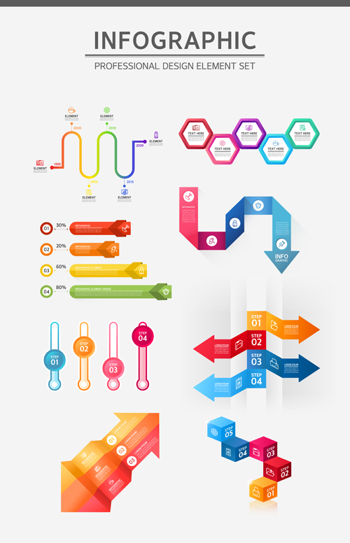 Infographic professional illustration vectors set 09