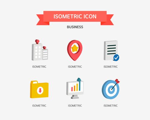 Isometric business Icons set 04