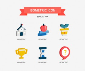 Isometric education Icons vector 02