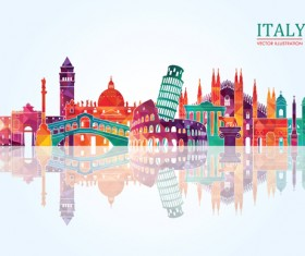Italy travel background art vector 01