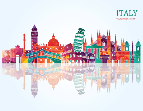 Italy Travel Background Art Vector 01 Vector Background