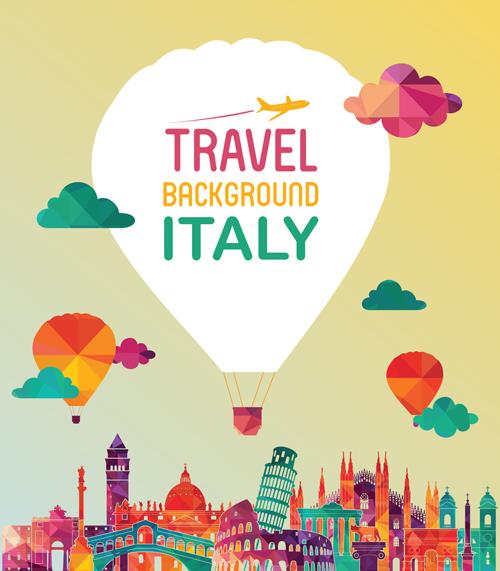 Italy travel background art vector 02