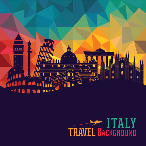 Italy travel background art vector 04 - Vector Background, Vector ...