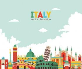 Italy travel background art vector 05