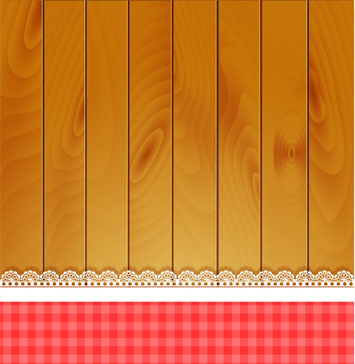 Lace with wooden background card vector 01