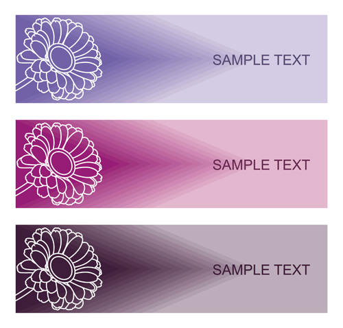 Lines flower banners vector