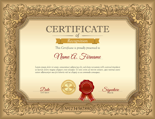Luxury Golden Certificate Template Vector Free Download